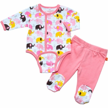 Magnificent Baby Girl's Elephants On Parade Burrito Pant Set - Newborn to 3 Months