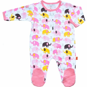 Magnificent Baby Girl's Elephants On Parade Footie - Newborn to 3 Months