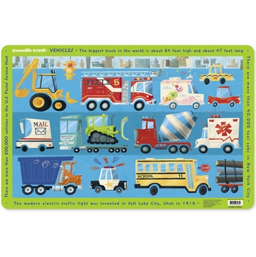Crocodile Creek Placemat - Vehicles