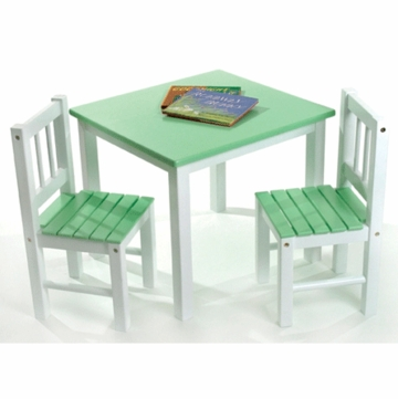 Lipper International Kids' Table & Chair Set in Green & White - 513GR