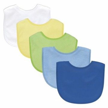 Green Sprouts Basic Waterproof Absorbent Bib, 5-Pack, Boys