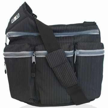 Diaper Dude Messenger Diaper Bag - Black Pinstripe
