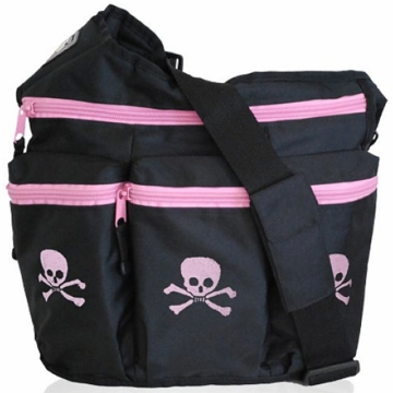 Diaper Dude Diva Diaper Bag - Black with Pink Skull & Cross Bones