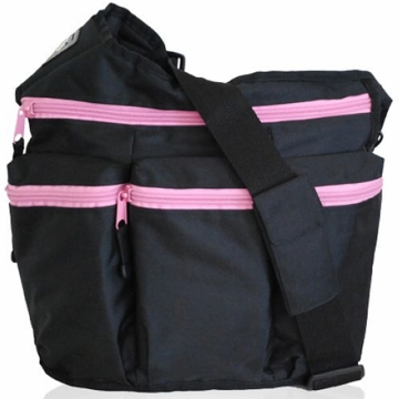 Diaper Dude Diva Diaper Bag - Black with Pink Zipper