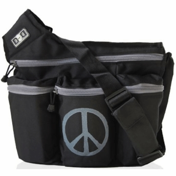 Diaper Dude Messenger Diaper Bag - Black with Gray Peace Sign