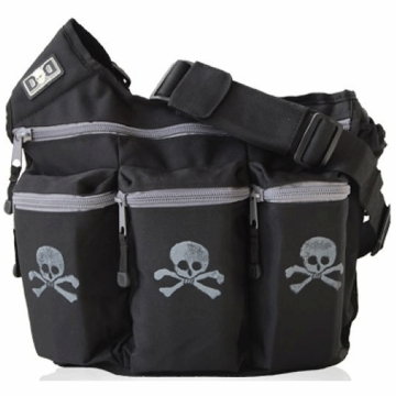 Diaper Dude Messenger Diaper Bag - Black with Gray Skull & Cross Bone