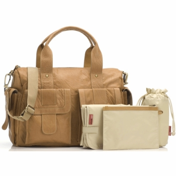 Storksak Sophia Leather Diaper Bag in Tan