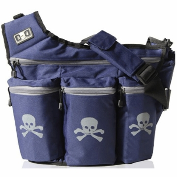 Diaper Dude Messenger Diaper Bag - Navy with Gray Skull & Cross Bones