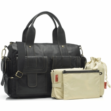 Storksak Sophia Leather Diaper Bag in Black