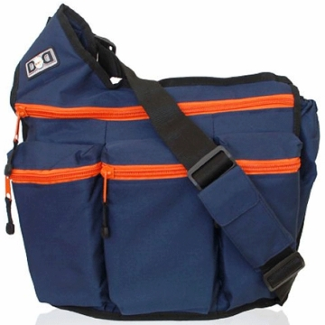 Diaper Dude Messenger Diaper Bag - Navy with Orange Zippers