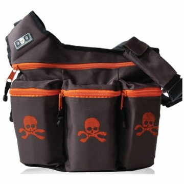 Diaper Dude Messenger Diaper Bag - Brown Skull & Cross Bones