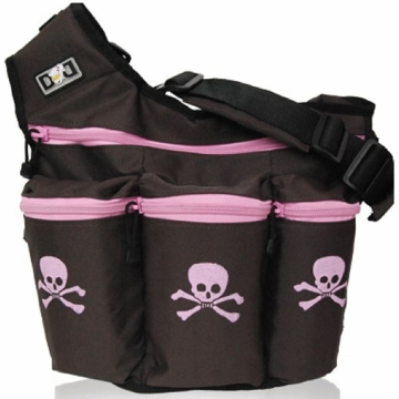 Diaper Dude Diva Diaper Bag - Brown with Pink Skull & Cross Bones