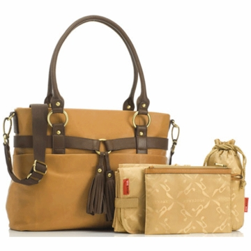 Storksak Isabella Leather Diaper Bag in Caramel