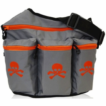 Diaper Dude Messenger Diaper Bag - Gray with Orange Skull & Cross Bone
