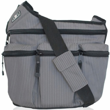 Diaper Dude Messenger Diaper Bag - Grey Pinstripe