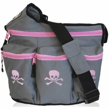 Diaper Dude Diva Diaper Bag - Grey with Pink Skull & Cross Bones