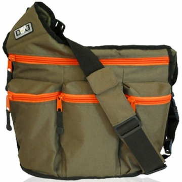 Diaper Dude Messenger Diaper Bag - Olive with Orange Zipper