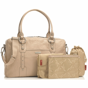 Storksak Elizabeth Leather Diaper Bag in Shell
