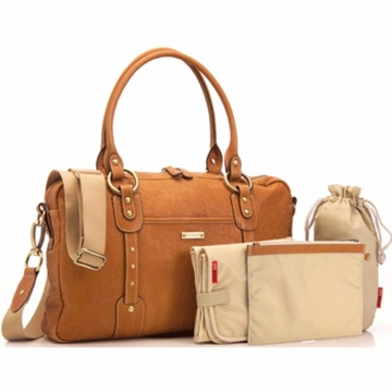 Storksak Elizabeth Leather Diaper Bag in Tan