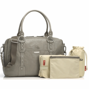 Storksak Elizabeth Leather Diaper Bag in Dove Grey
