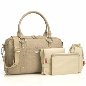 Storksak Elizabeth Quilted Leather Diaper Bag in Fawn