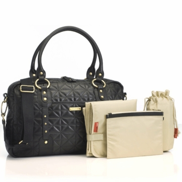 Storksak Elizabeth Quilted Leather Diaper Bag in Black