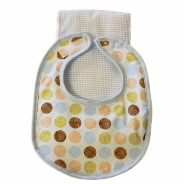 Tickle Toes Ditto Dot Blue Bib & Burp Cloth Set