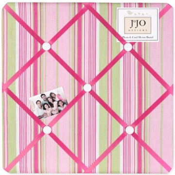 Sweet JoJo Designs Jungle Friends Stripe Print Fabric Memo Board