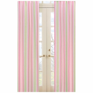 Sweet JoJo Designs Jungle Friends Stripe Print Window Panels