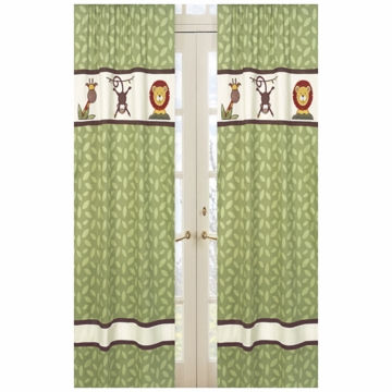 Sweet JoJo Designs Jungle Time Green Leaf Print Window Panels