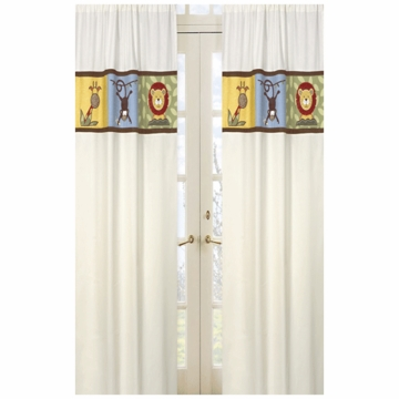 Sweet JoJo Designs Jungle Time Ivory Window Panels