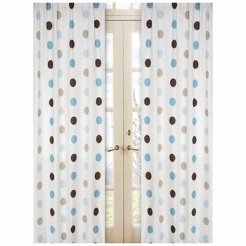 Sweet JoJo Designs Mod Dots Blue Window Panels