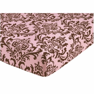 Sweet JoJo Designs Nicole Crib Sheet in Damask Print