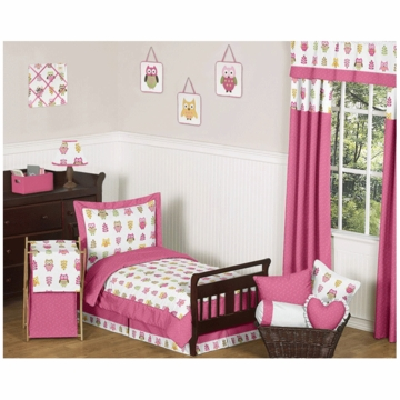 Sweet JoJo Designs Owl Pink 5 Piece Toddler Bedding Set
