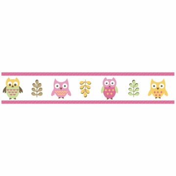 Sweet JoJo Designs Owl Pink Wallpaper Border