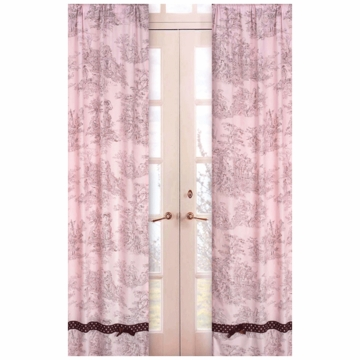 Sweet JoJo Designs Pink & Brown Toile Window Panels