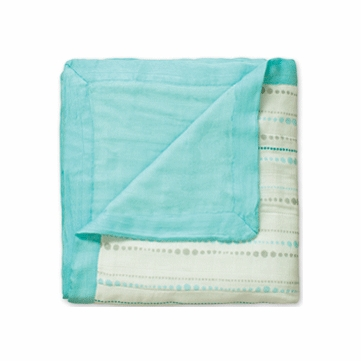Aden + Anais Bamboo Dream Blanket - Azure - Beads & Solid Blue