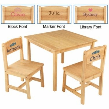 KidKraft Personalized Aspen Table and 2 Chair Set in Natural
