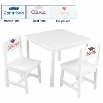 KidKraft Personalized Aspen Table and 2 Chair Set in White