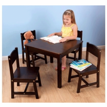 KidKraft Farmhouse Table & 4 Chairs Set in Espresso