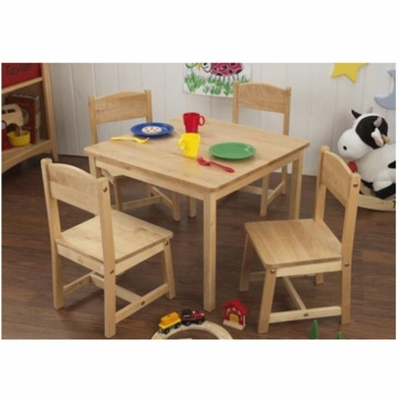 KidKraft Farmhouse Table & 4 Chairs Set in Natural