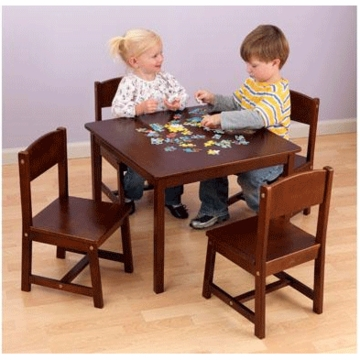 KidKraft Farmhouse Table & 4 Chairs Set in Pecan