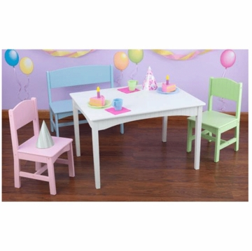KidKraft Nantucket Table with Bench & Two Chairs in Pastel