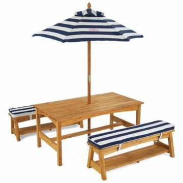 KidKraft Personalized Outdoor Table & Bench Set with Cushions & Umbrella