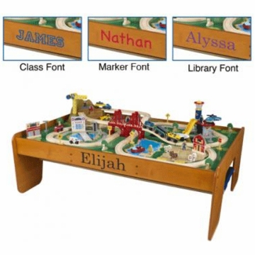 KidKraft Personalized Ride Around Town Train Set with Table