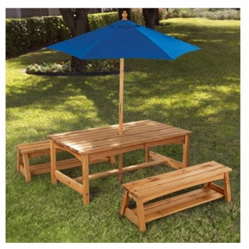 KidKraft Table & Bench with Blue Umbrella