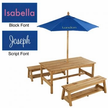 KidKraft Personalized Table & Bench with Blue Umbrella
