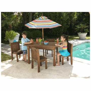 KidKraft Table with Stacking Chairs & Striped Umbrella