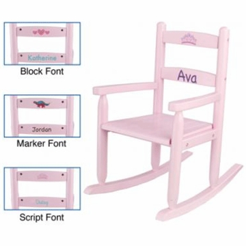 KidKraft Personalized Two Slat Rocking Chair in Pink