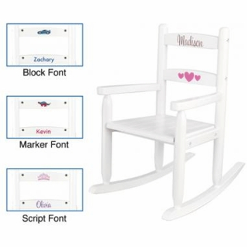 KidKraft Personalized Two Slat Rocking Chair in White